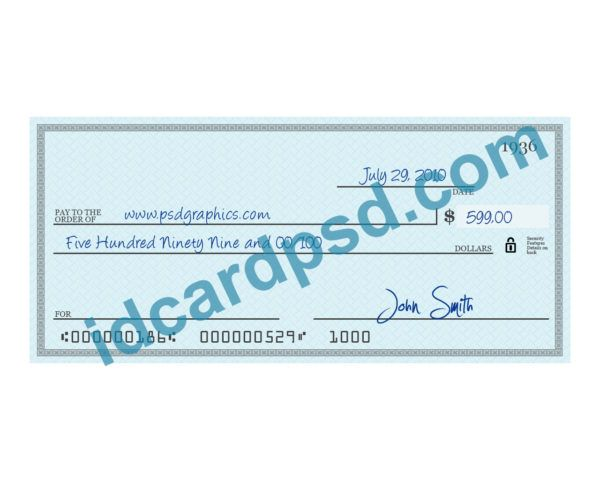 Bank check psd template  you can put any name, address, number to