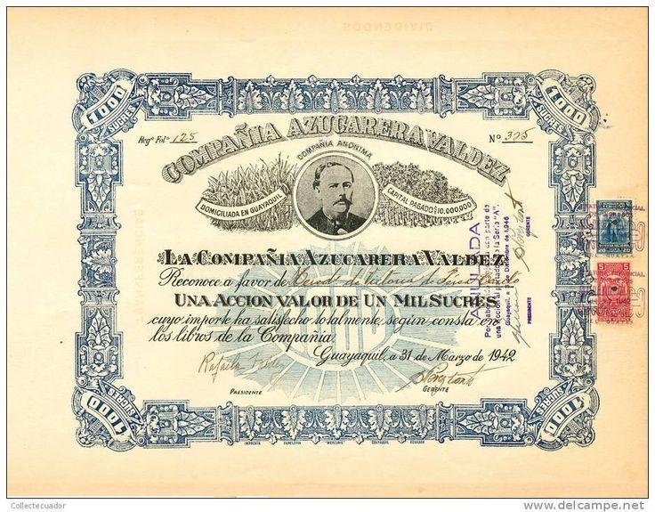 AZP3ECU004 Compaňia Azucarera Valdez 1 000 Sucres 1942