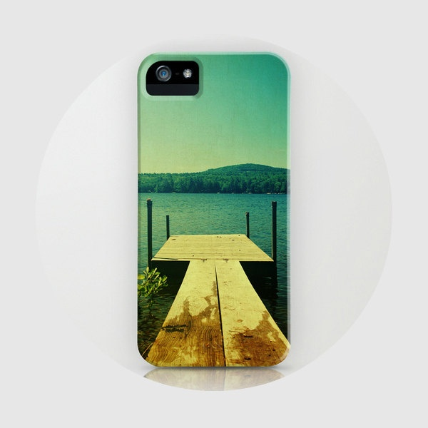 iPhone 5 case, iPhone 5, water, lake, dock, summer, iPhone case, blue, pine  - Swim Dock, iPhone 5 case. $45.00, via Etsy.