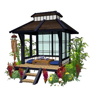 James this is the type of structure I thought would look good in the corner.   ancient japanese tea house - Google Search