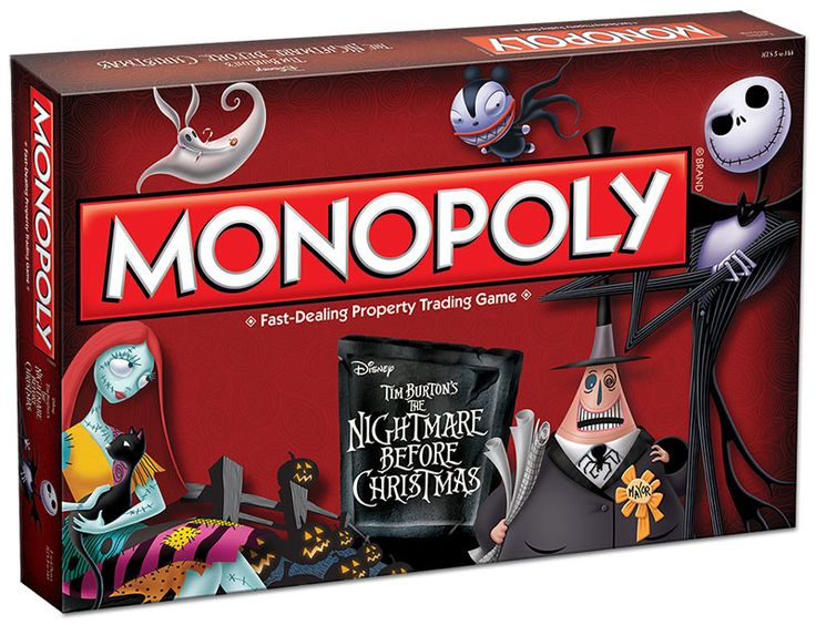 Nightmare Before Christmas monopoly game It's the infamous Pumpkin King teaming up with America's favorite board game to bring you the frightful The Nightmare Before Christmas MONOPOLY game. Relive th