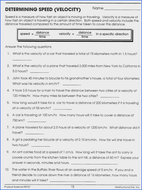 Velocity And Acceleration Calculation Worksheet : velocity, acceleration, calculation, worksheet, Speed, Velocity, Worksheet, Answer, Acceleration,, Worksheets,, Calculating
