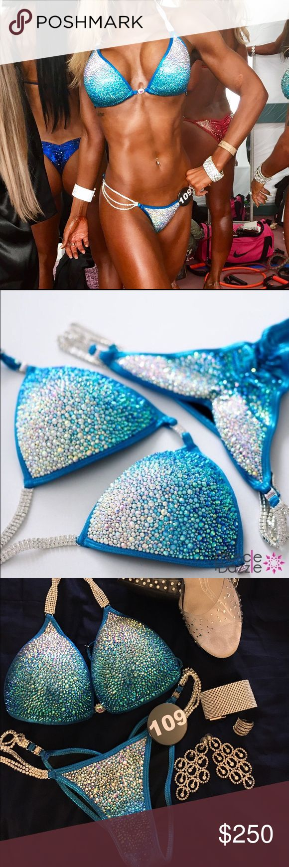 Muscle dazzle stage bikini Like BRAND NEW**** muscle dazzle NPC BIKINI! It's a small in top and bottoms. Only wore once and professionally cleaned. Comes in box. Please message me for any questions muscle dazzle Other