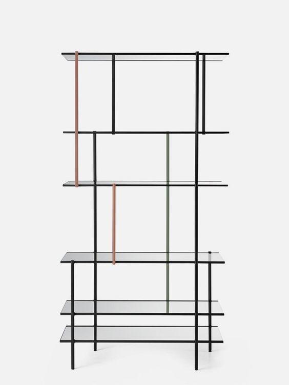 Modern Minimalist Shelving System Assembled of Thin Metal Frames: