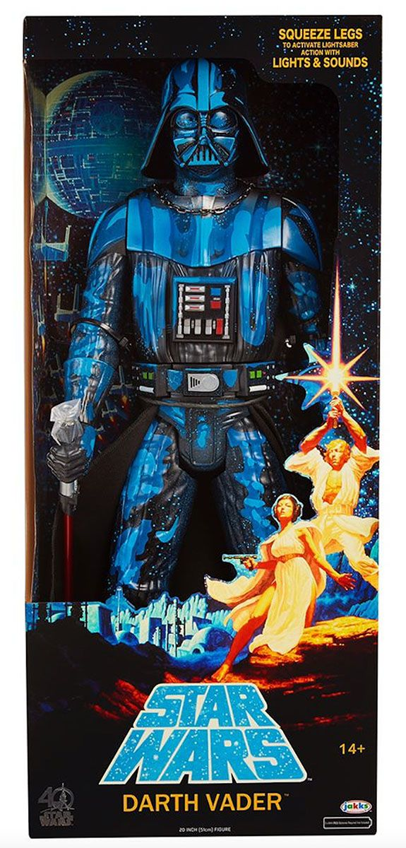 Jakks Pacific will have a great looking exclusive Darth Vader figure as a San Diego Comic-Con 2017 Exclusive. Jakks took their 20″ tall Darth Vader and repainted it to look like Vader from the iconic 1977 Star Wars poster by the Brothers Hildebrandt. This oversized figure has a vintage style play feature as well. If you squeeze the legs together, Darth Vader will swing his lightsaber and will activate lights and sounds. Along with the stylized paint scheme, the figure will come in vintage…