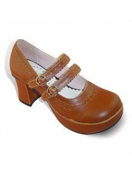 Lolita Two Straps Coffee Princess Shoes