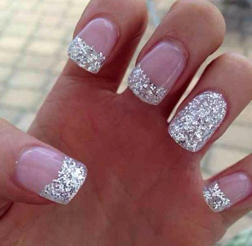 Sparkly french tip, so cute for a wedding or dress-up time.                                                                                                                                                     More