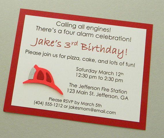 handmade FIRE HELMENT birthday party invitation by plumcakeparties, $2.25