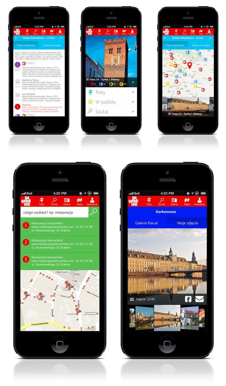 Projekt aplikacji mobilnej Pascal - Polska na weekend również w wersji na smartphony :) wygodnie i zawsze pod ręką!. #polskanaweekend, #aplikacjamobilna, #wydawnictwopascal, #przewodnik