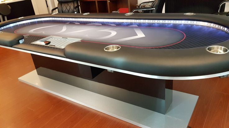 Custom poker table, 4'x10' with USB ports and genuine leather rail + lights!