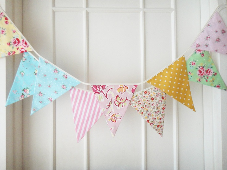 Shabby Chic Fabric Banners, Bunting, Garland, Wedding Bunting, Pennants, Flags - 3 yards (3rd version). $29.00, via Etsy.