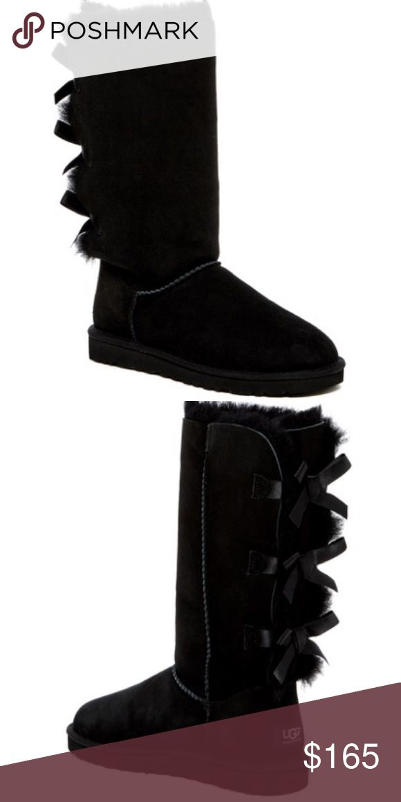 Authentic UGG bailey bow boots size 7 black Will post more pictures in a couple hours. Brand new, great price. Will come with box. Ask questions. Brought from Nordstrom rack for 165 plus tax. Price firm UGG Shoes Winter & Rain Boots