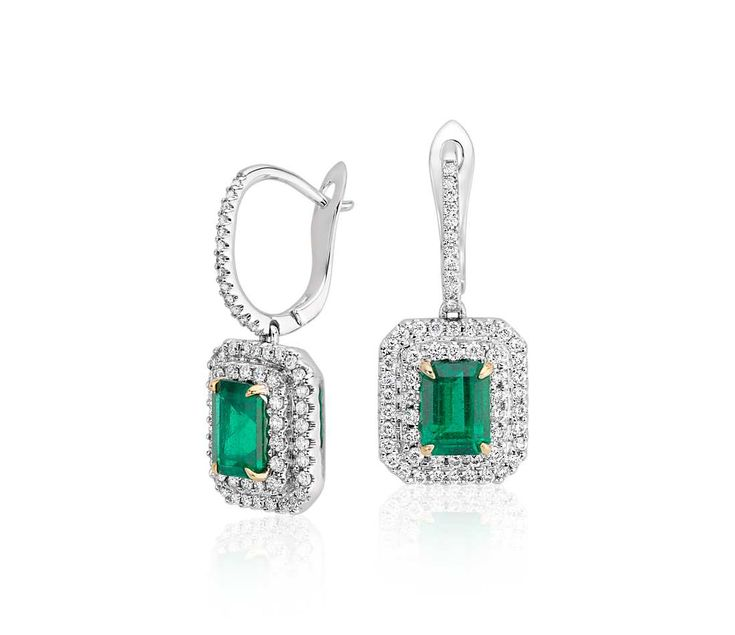Angara Dangling Emerald and Diamond Halo Earrings with Milgrain in Platinum LcYtVO