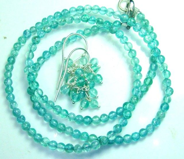 AQUAMARINE NECKLACE AND EARRING SET 44 CTS SG-2213 aquamarine necklace and earing set , gemstone set necklace and earrings, gemstone set