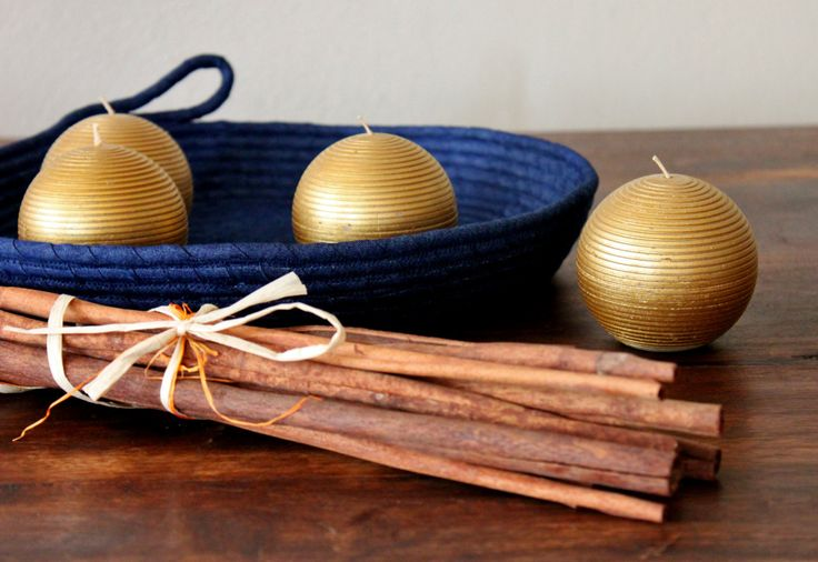 Monochrome Denim Basket, Round Handmade Basket/Tray, Modern Basket/Tray, Xmas Decor Tray by Annas7Closet on Etsy
