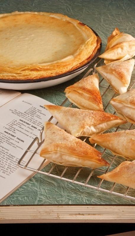 Milktart with puff pastry an milktart samoosas