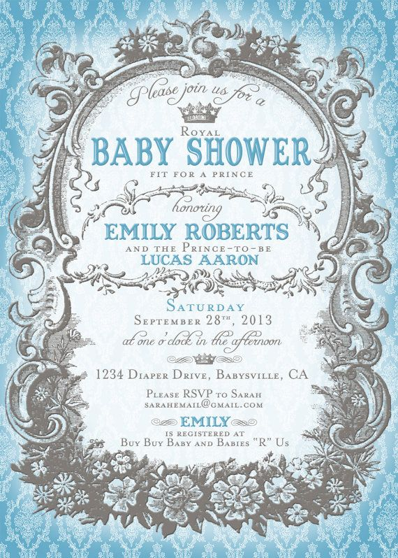 prince baby shower invitation royal blue and grey diy printable