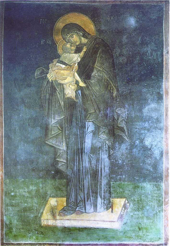 Богоматерь Гликофилуса. Фреска. Константинополь. До 1335 г.
