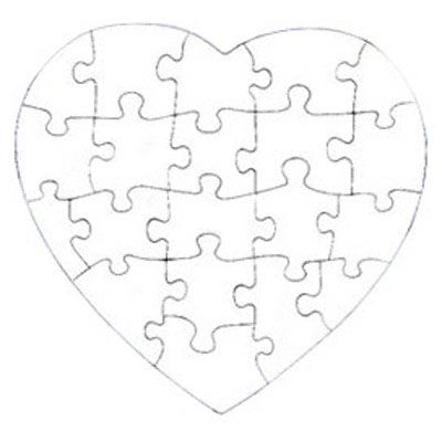 Heart Jigsaw Puzzle Template | 20-Piece Puzzle Template 400.400