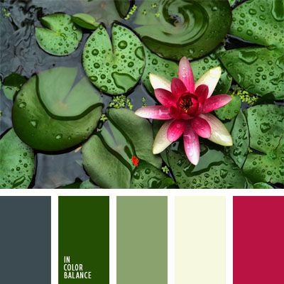 blanco, color agua pantanosa, color flor de loto, color hierba pantanosa, color rosa fuerte, color verde hierba, color verde nenúfar, color verde pantano, gris, gris y verde, rosado y verde, tonos verdes.