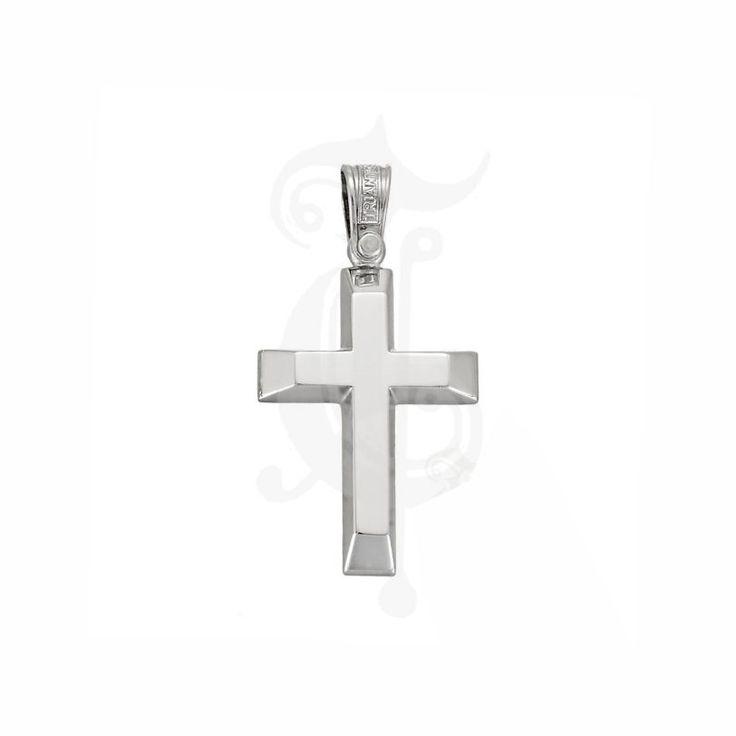 Σταυρός βάπτισης για αγοράκι ΤΡΙΑΝΤΟΣ λευκόχρυσος Κ14 σε κλασικό σχήμα με μπιζουτάρισμα στα άκρα | Κόσμημα ΤΣΑΛΔΑΡΗΣ στο Χαλάνδρι #βαπτιστικός #σταυρός #Τριάντος #αγόρι