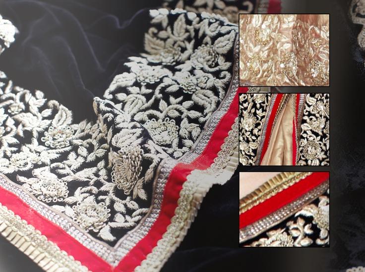 Gara Embroidery Sari, Embelished with Stones