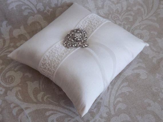 Silk Dupioni Vintage Wedding Ring Pillow by creations4brides, $48.00