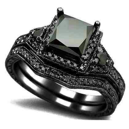 black gold black diamond wedding set - Black Diamond Wedding Ring