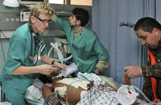 Mads Gilbert -Norwegian doctor helping the wounded in Gaza, Mads tried to enter Gaza to treat the injured in the current war,Egyptian authorities REFUSED to let him in, he changed his destination and entered Gaza by the Zionist entity. He returned helping them as he did in the 3 previous wars they have suffered,struggled and massacred over the past five years.Mads left everything in Norway and came to the state of war to help the suffering people in Gaza..