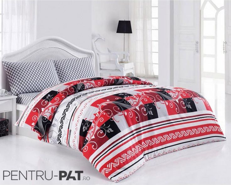 Set cuvertura pat pentru doua persoane Anatolia grey & red