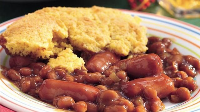 I make this in a crockpot with sliced hotdogs and Jiffy cornbread mix...so yummy!