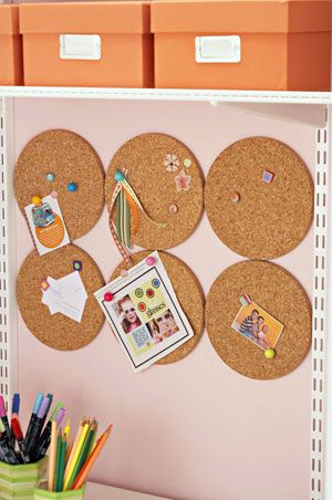 Organize Your Sewing Room, cover these with scrapbook paper or fabric and they would be really cute pin boards
