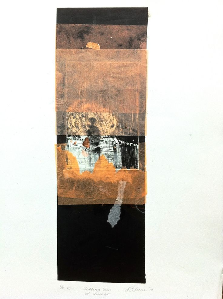 ELAINE d'ESTERRE - 'Setting Sun at Mungo', 2/2, 2015, drypoint, chine-colle and gold leaf by Elaine d'Esterre at elainedesterreart.com and http://www.facebook.com/elainedesterreart/ and http://instagram.com/desterreart/