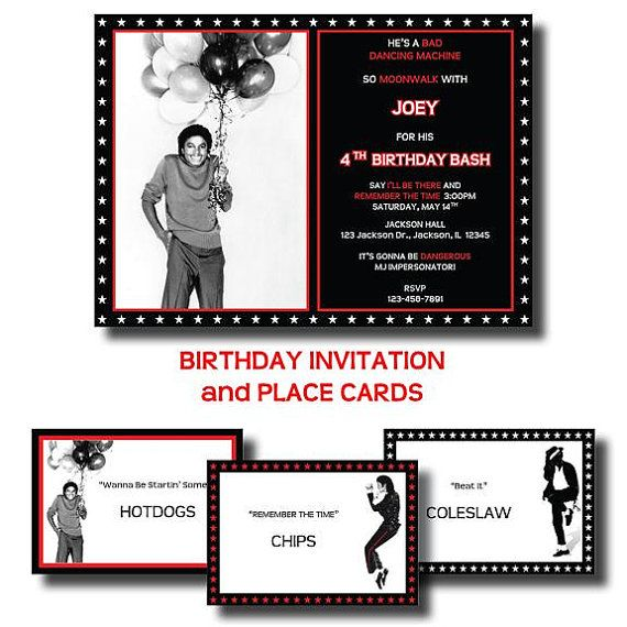 MICHAEL JACKSON Birthday Party  Printable by LeslieMarieDesigns