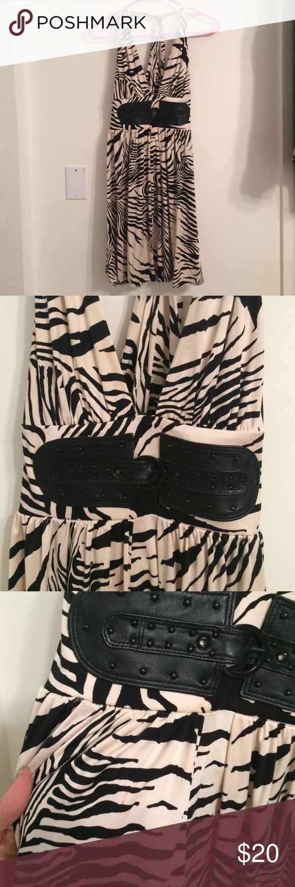 Marciano zebra print dress with leather detail Inside zipper with leather faux belt. Does have some makeup on neck and small spot ( I think it would come out being cleaned) Marciano Dresses Mini