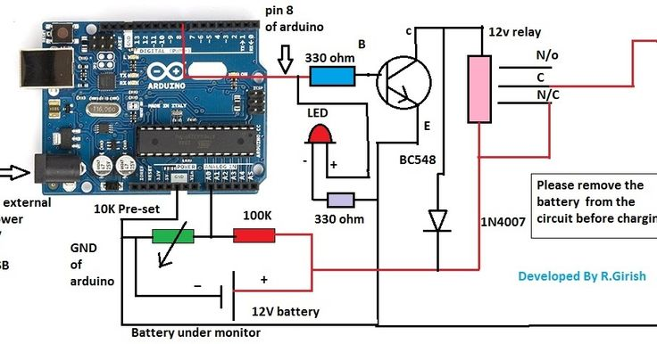 The post explains a  battery over discharge protection circuit using Arduino and includes schematic and programming code