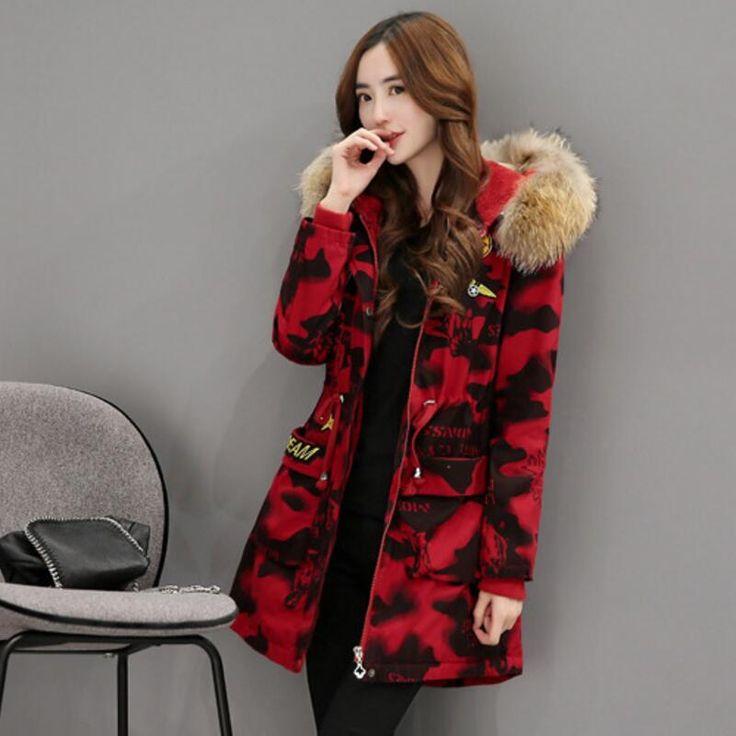 korean Winter Clothes  2017 Ladies Fashion Leisure Plus Size 3 Kinds Of Color Camouflage Winter Jacket Camel Hair Coats Women