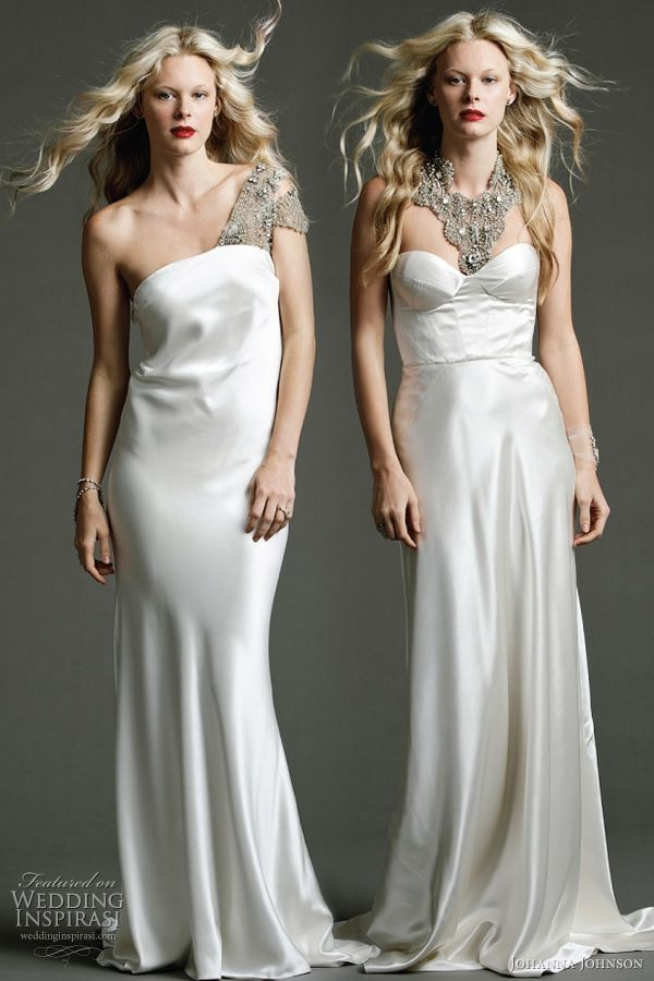 """Johanna Johnson 2011 wedding dress - Templar - heavy silk tube gown with exclusive Swarovski hand beaded shoulder detailing; Sassine - ivory structured panelled gown with strong detailed design line and silk covered buttons. Shown with exclusive hand beaded """"Astor"""" neckpiece"""