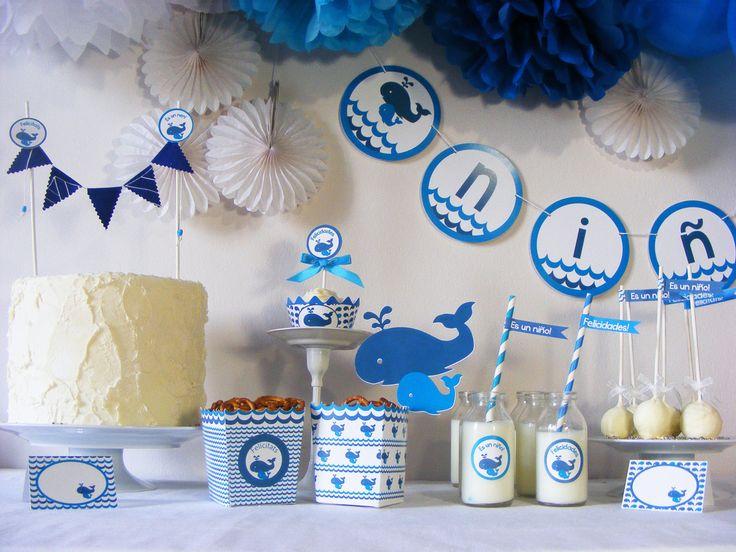 Kit de fiesta baby shower ballenas gender reveal party decoraci n para fi - Decoration de baby shower ...