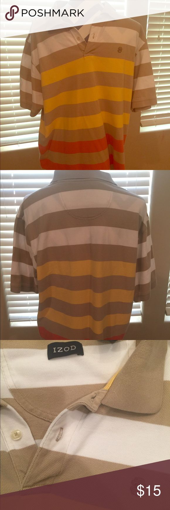 IZOD striped polo shirt IZOD striped polo shirt with yellow, white, tan, and red. Very sharp shirt. XL Izod Shirts Polos