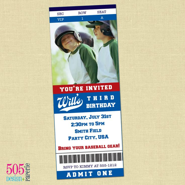 Baseball Ticket Invitation - Printable Baseball Party Invitation - blank ticket
