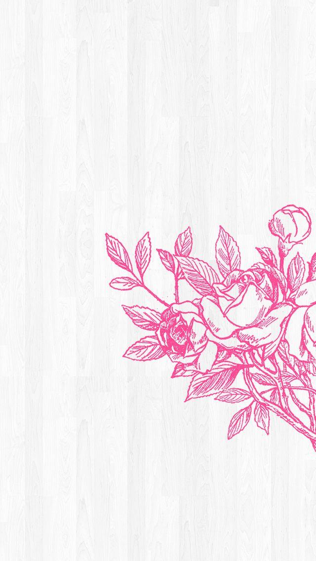 Minimal grey white Wood pink flowers iphone wallpaper phone background lockscreen