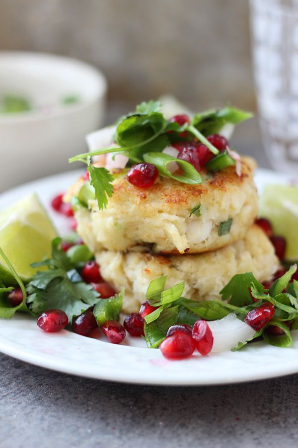 Crispy Crab Cakes with Pomegranate Salsa.. Perfect for a Christmas dinner.
