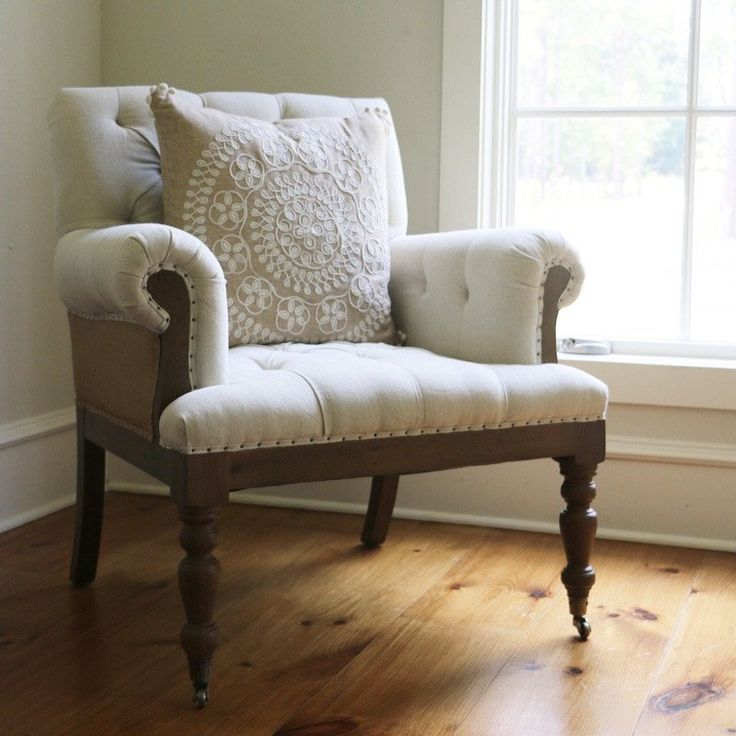Charlotte Linen Tufted Chair - Local Pick-Up Only