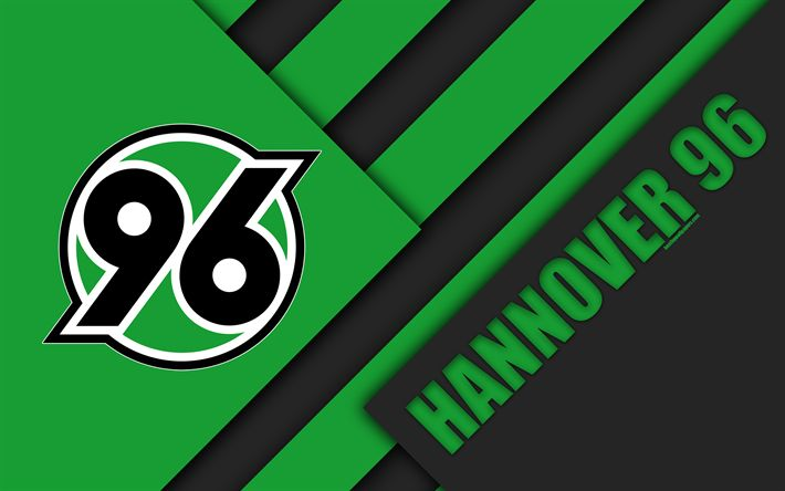 Download wallpapers Hannover 96 FC, 4k, material design, green black abstraction, emblem, german football club, logo, Bundesliga, Hanover, Germany