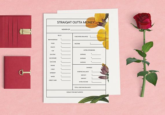 So youre Straight Outta Cash? With this printable, you can make sure you learn to budget like a badass! - Organize your monthly bills - Document extra spending habits - Kickstart savings - Brainstorm next months goals >> This is an instant PDF digital download. >> Prints out as