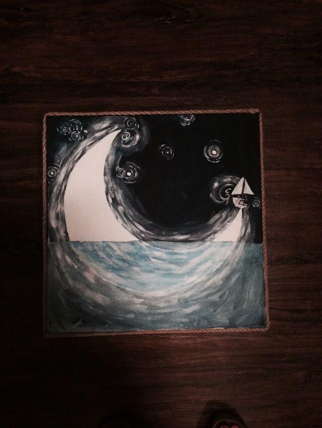 To the moon. #moon #acrylics #canvas #whimsical #sail #ropeedge