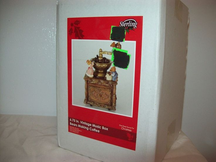 Sterling Vintage Bears Making Coffee Music Box We Wish You Merry Christmas Works