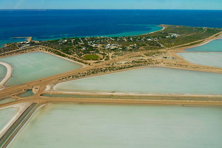 Shark Bay Scenic Flight - Useless Loop: Salzgewinnung & riesigige Salzwasserbecken - Western Australia