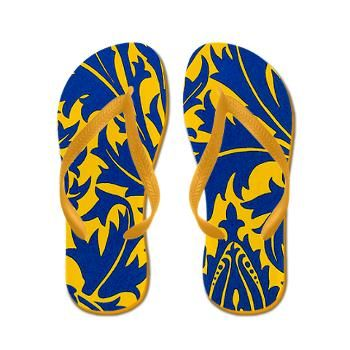 Victorian Thistle Yellow Flip Flops